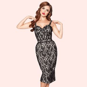 🌺 Bettie Page Lace Overlay Wiggle Wiggle Dress